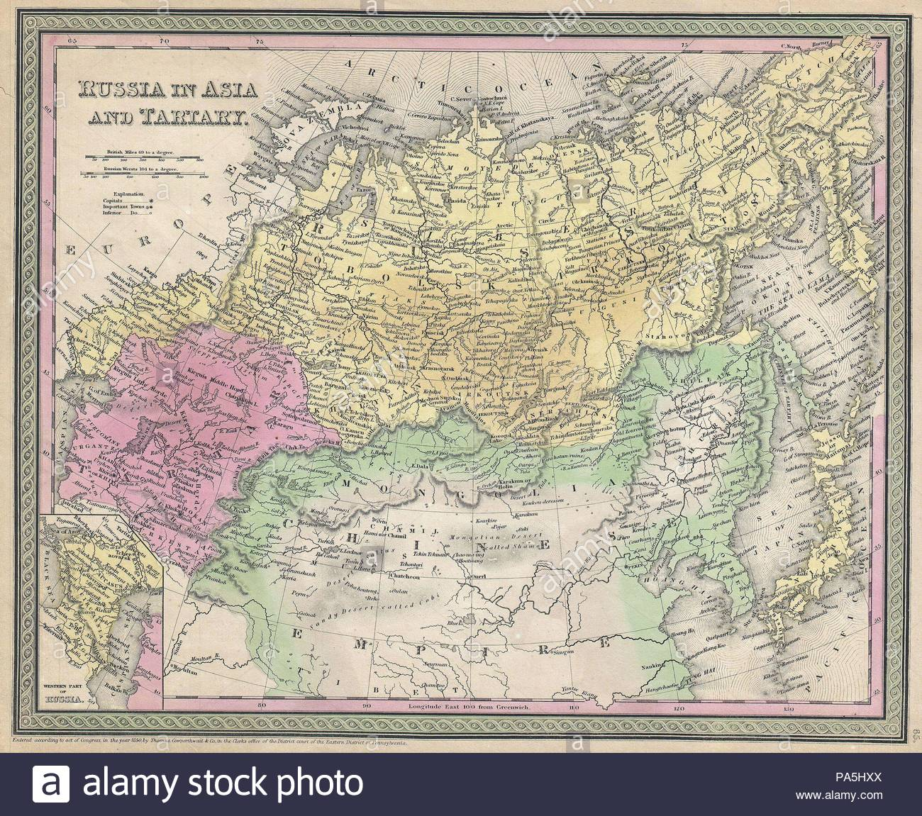 1853, Mitchell Map of Russia in Asia and Tartary.