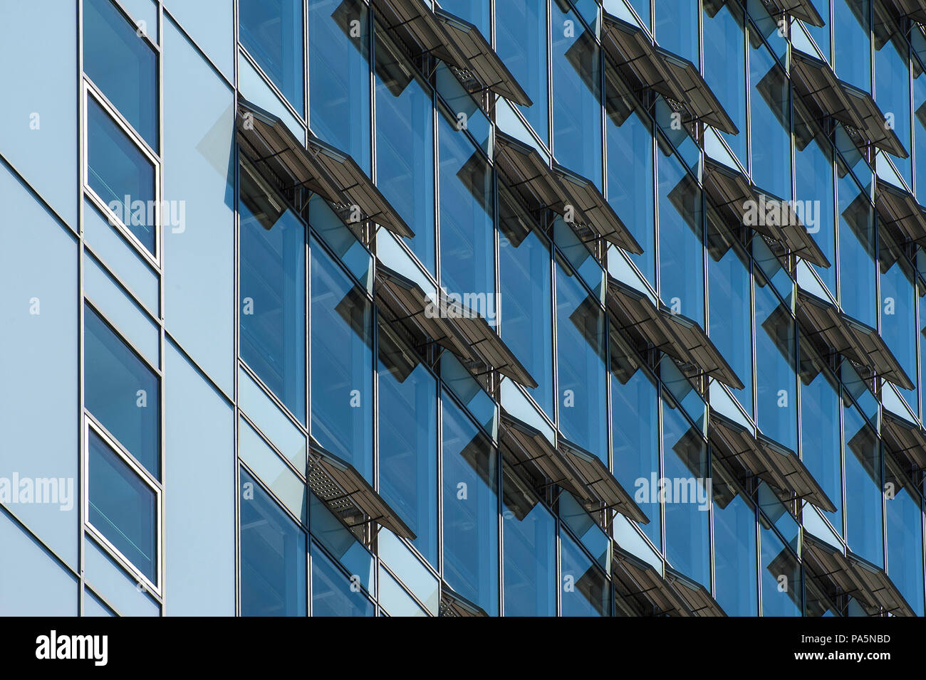 Ventilation flaps on windows in skyscraper facade, Munich, Upper Bavaria, Bavaria, Germany - Stock Image