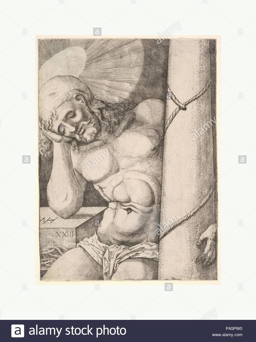 The Man of Sorrows at the Column, 1523, Etching, sheet: 6 5/16 x 4 5/8 in. (16 x 11.8 cm), Prints, Nikolaus Hogenberg (Netherlandish, Munich ca. 1500–1539 Mechelen). - Stock Image