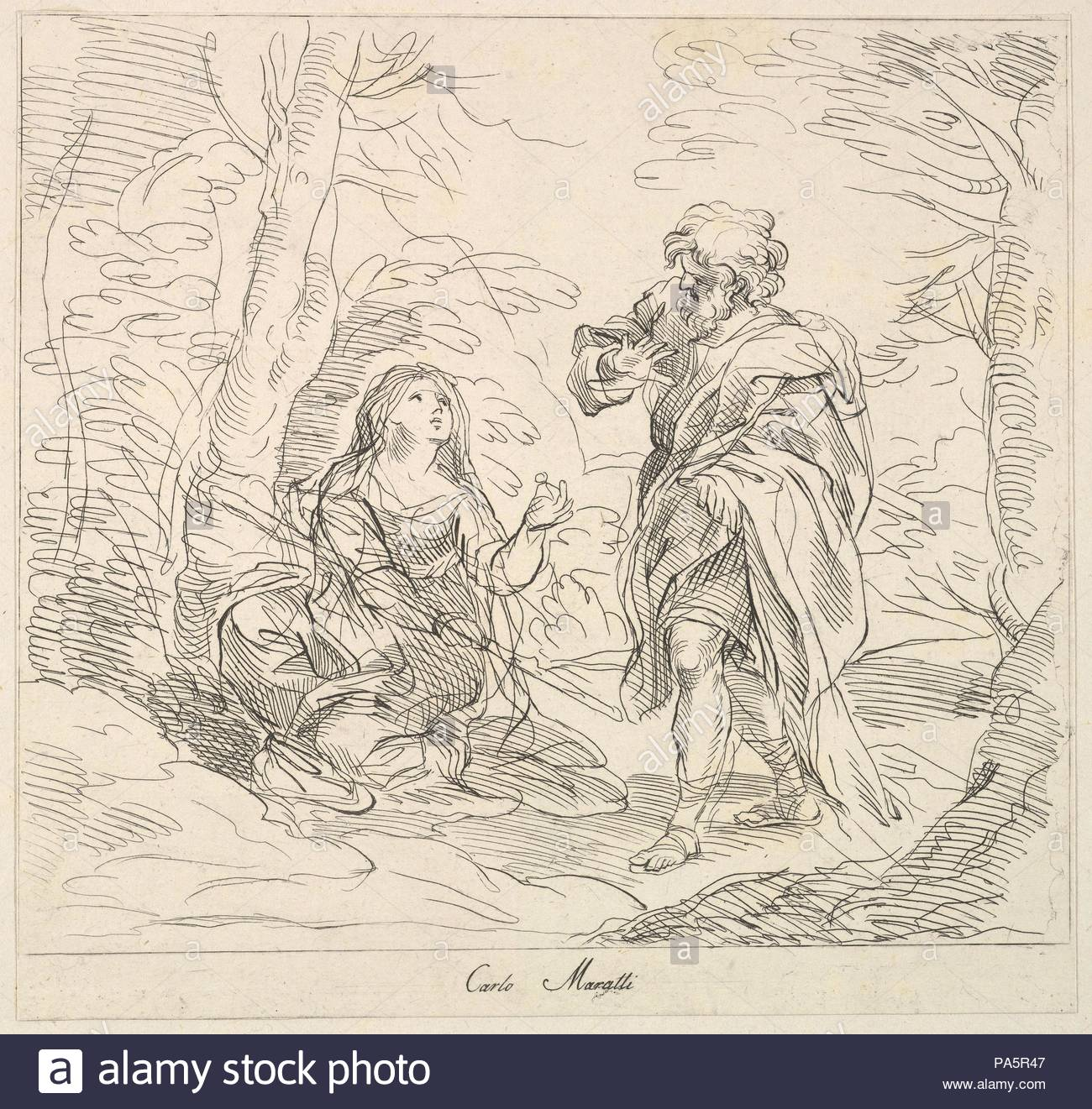 Seated woman and Bearded Man in a Landscape, 1740–1802, Etching, sheet: 10 1/16 x 13 1/8 in. (25.5 x 33.3 cm), Prints, Attributed to Giuseppe Canale (Italian, 1725–1802), After Carlo Maratti (Italian, Camerano 1625–1713 Rome). - Stock Image