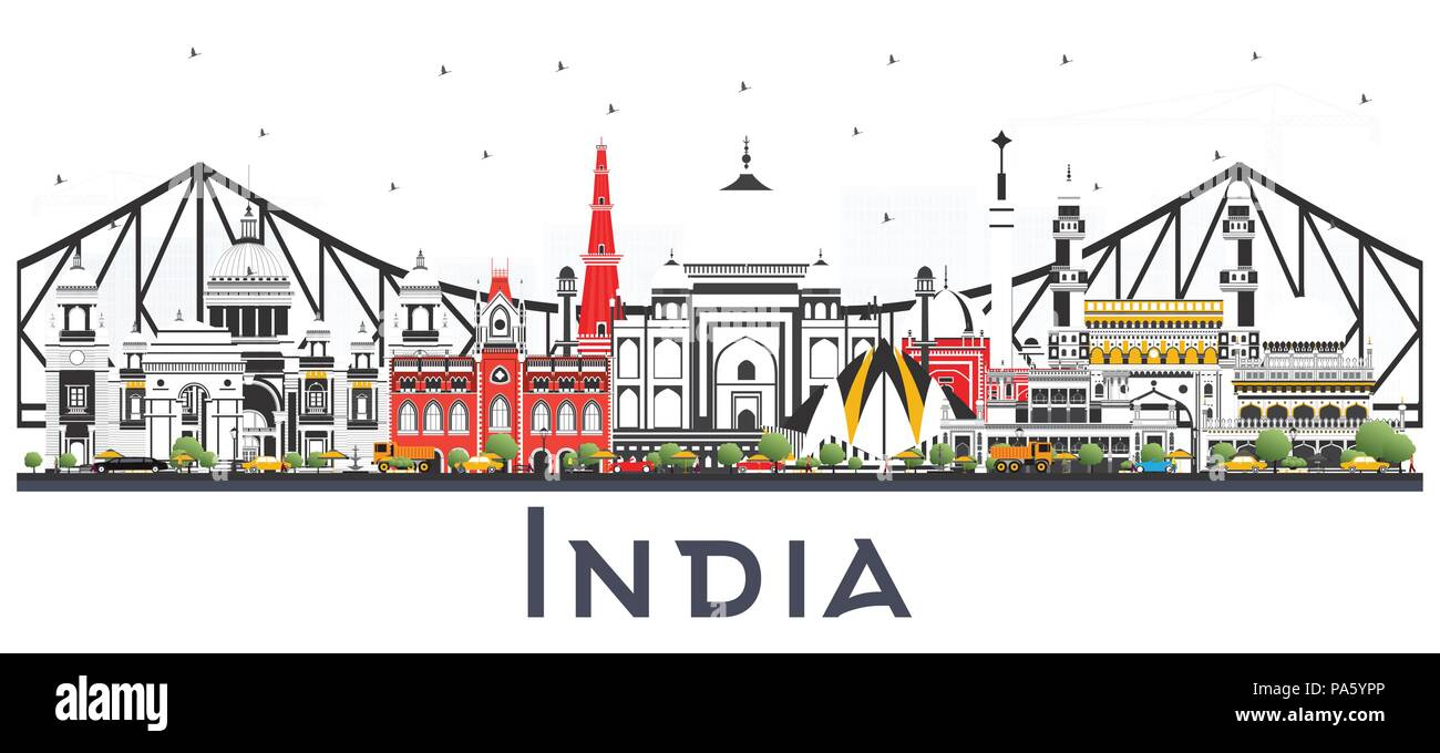 India City Skyline with Color Buildings Isolated on White. Delhi. Hyderabad. Kolkata. Vector Illustration. - Stock Vector