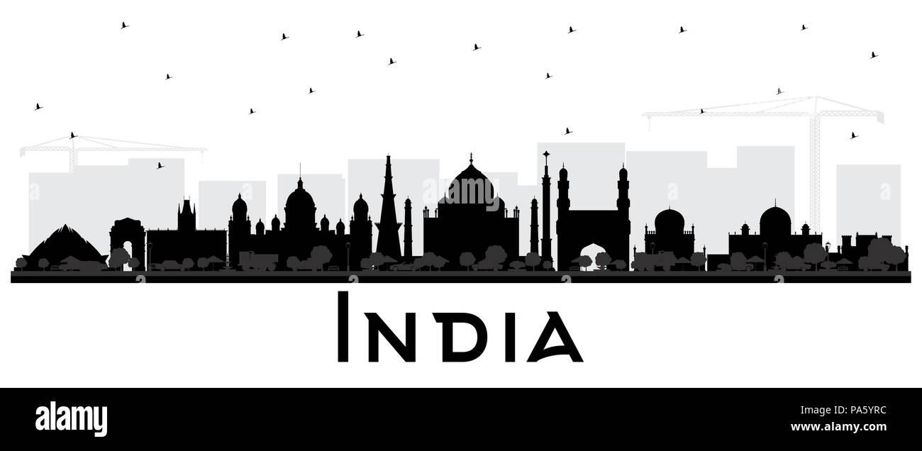 India City Skyline Silhouette with Black Buildings Isolated on White. Delhi. Hyderabad. Kolkata. Vector Illustration. - Stock Vector