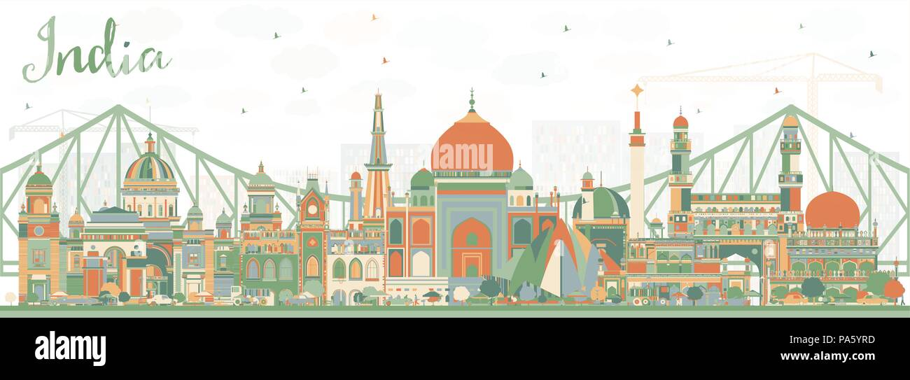India City Skyline with Color Buildings. Delhi. Hyderabad. Kolkata. Vector Illustration. Travel and Tourism Concept with Historic Architecture. - Stock Vector