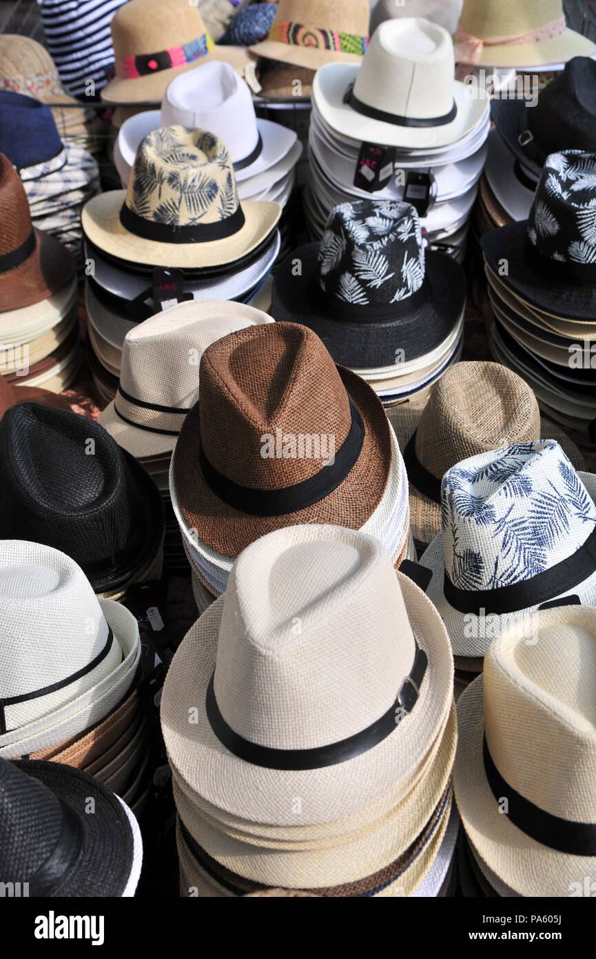 Selection of Men s Hats for sale and on display on sale at a market held  each f7b7fec064dc
