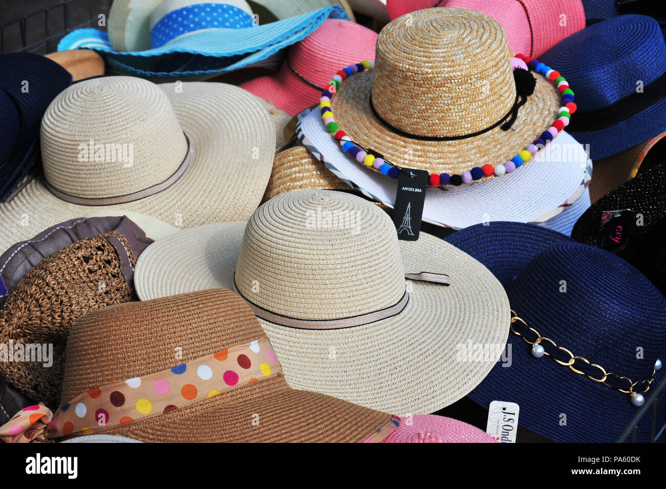 f4544603dd8 Selection of Women s Hats for sale and on display on sale at a market held  each