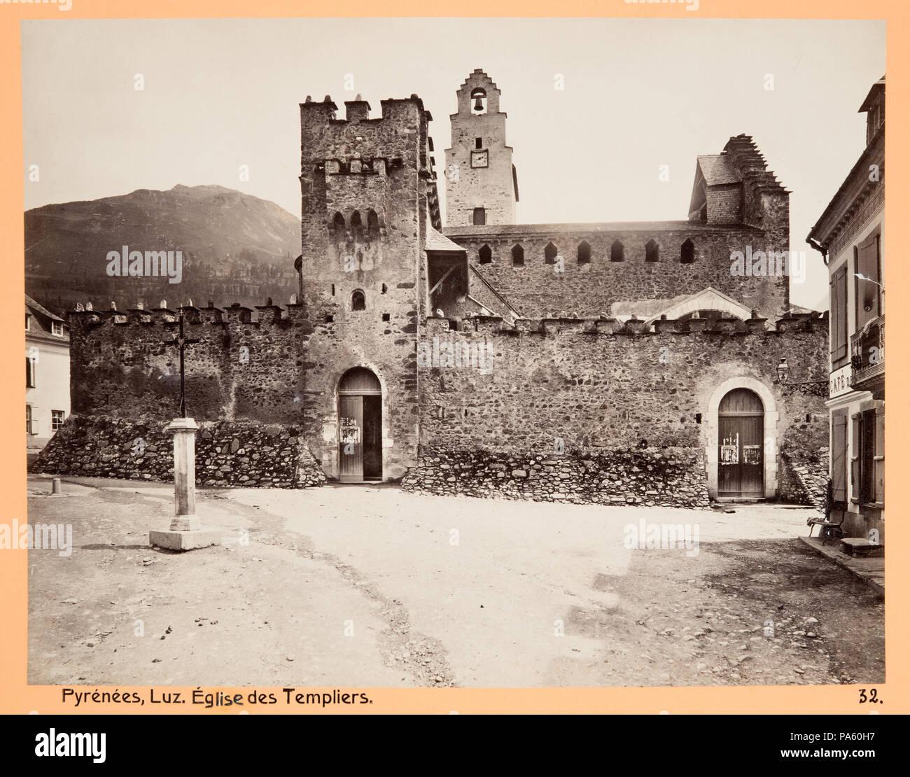 Inv.nr:LXVI:D.32. 87 Fotografi av Pyrénées. Luz, Èglise des Templiers - Hallwylska museet - 104663 - Stock Image