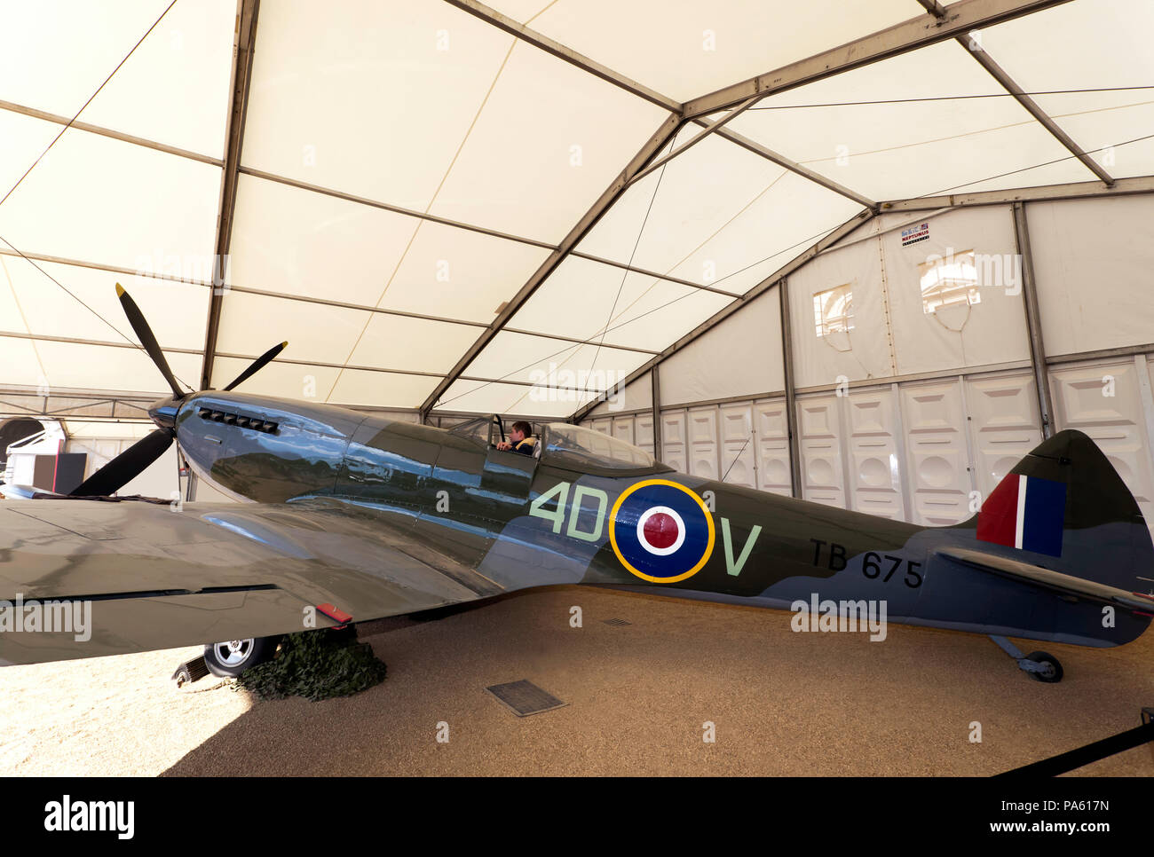 View of a  Supermarine Spitfire Mk XVI, part of the RAF Centennial Celebrations at Horse Guards Parade, - Stock Image