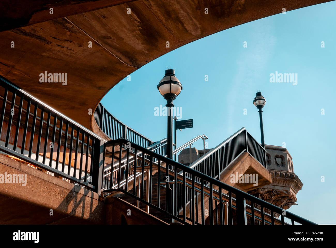 Public Stairway to access Blackfriars Bridge, London, England - Stock Image