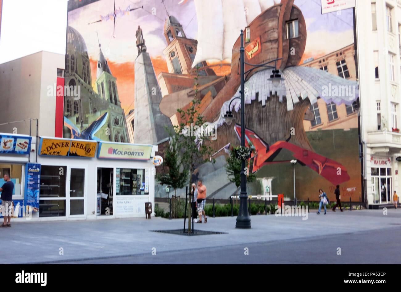 street scene, Lodzt, Poland - Stock Image