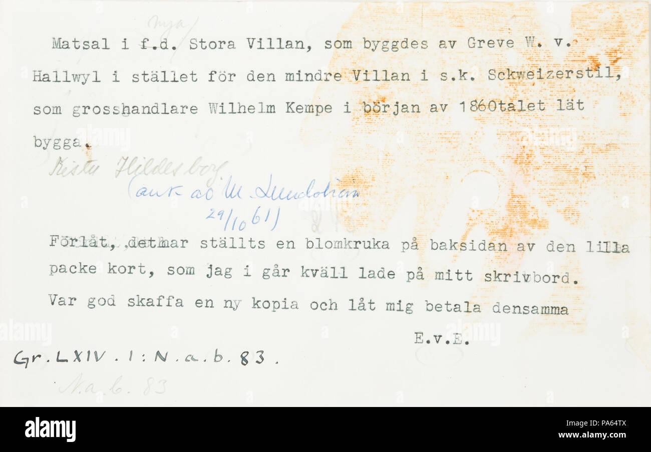 309 Text till foto. Matsal i f.d Stor Villan, som byggdes av Greve W. v - Hallwylska museet - 108005 - Stock Image