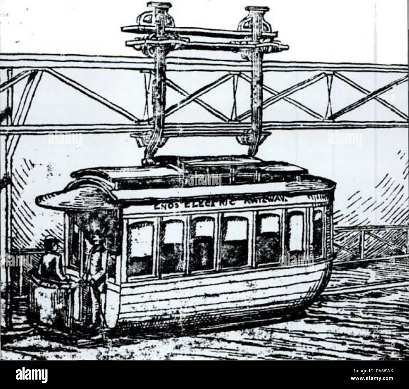 . English: Drawing of a car of the Enos Electric Railway system proposed for Winthrop, Massachusetts in 1885. By 1886, the system was ready to construct, with finances and property acquisition completed. However, the Boston, Revere Beach & Lynn Railroad bought the struggling Boston, Winthrop & Shore, and the Enos Electric plans were quickly buried. circa 1886 622 Enos Electric Railway Stock Photo