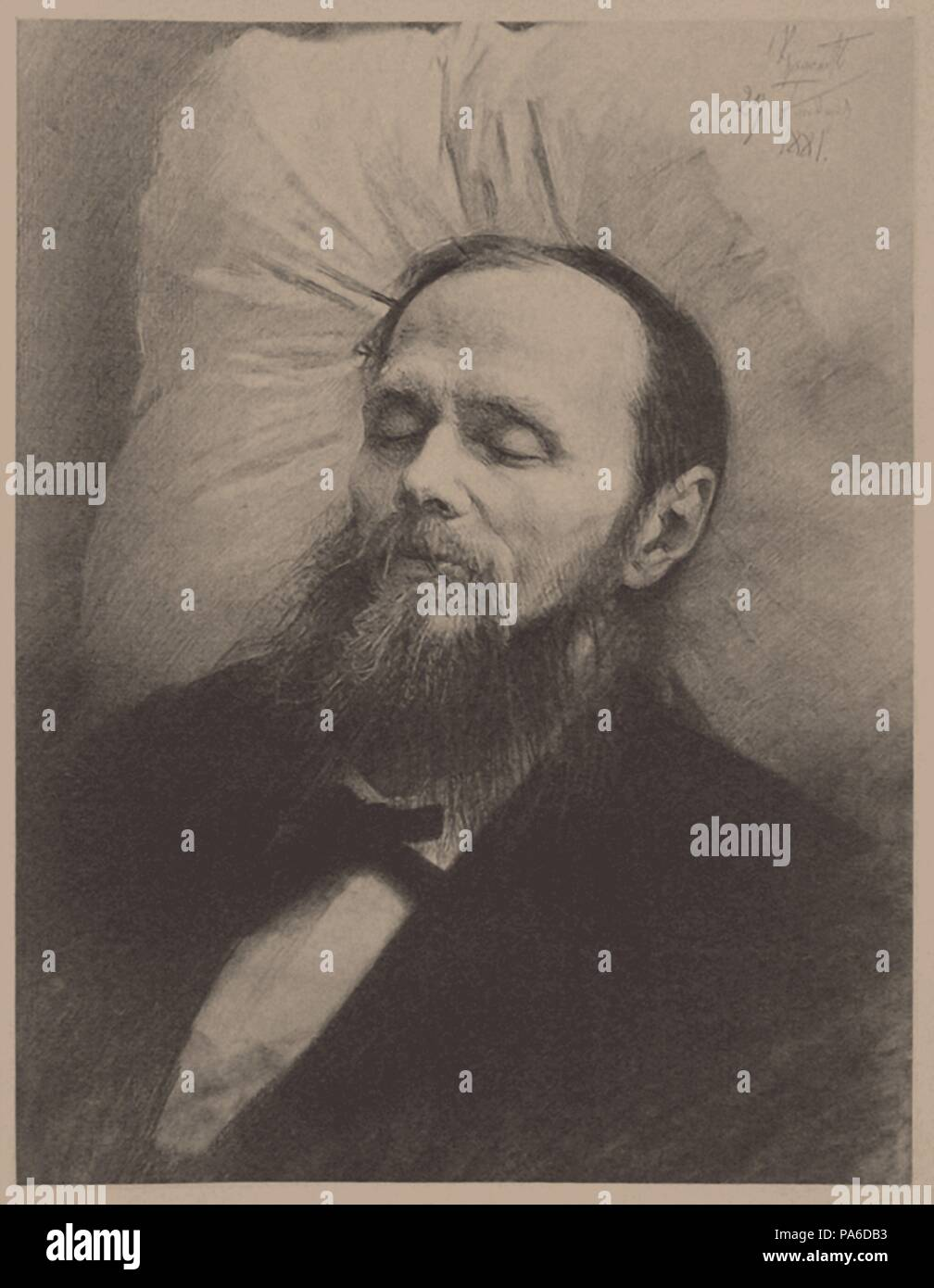 Fyodor Dostoyevsky on the deathbed. Museum: State Central Literary Museum, Moscow. Stock Photo
