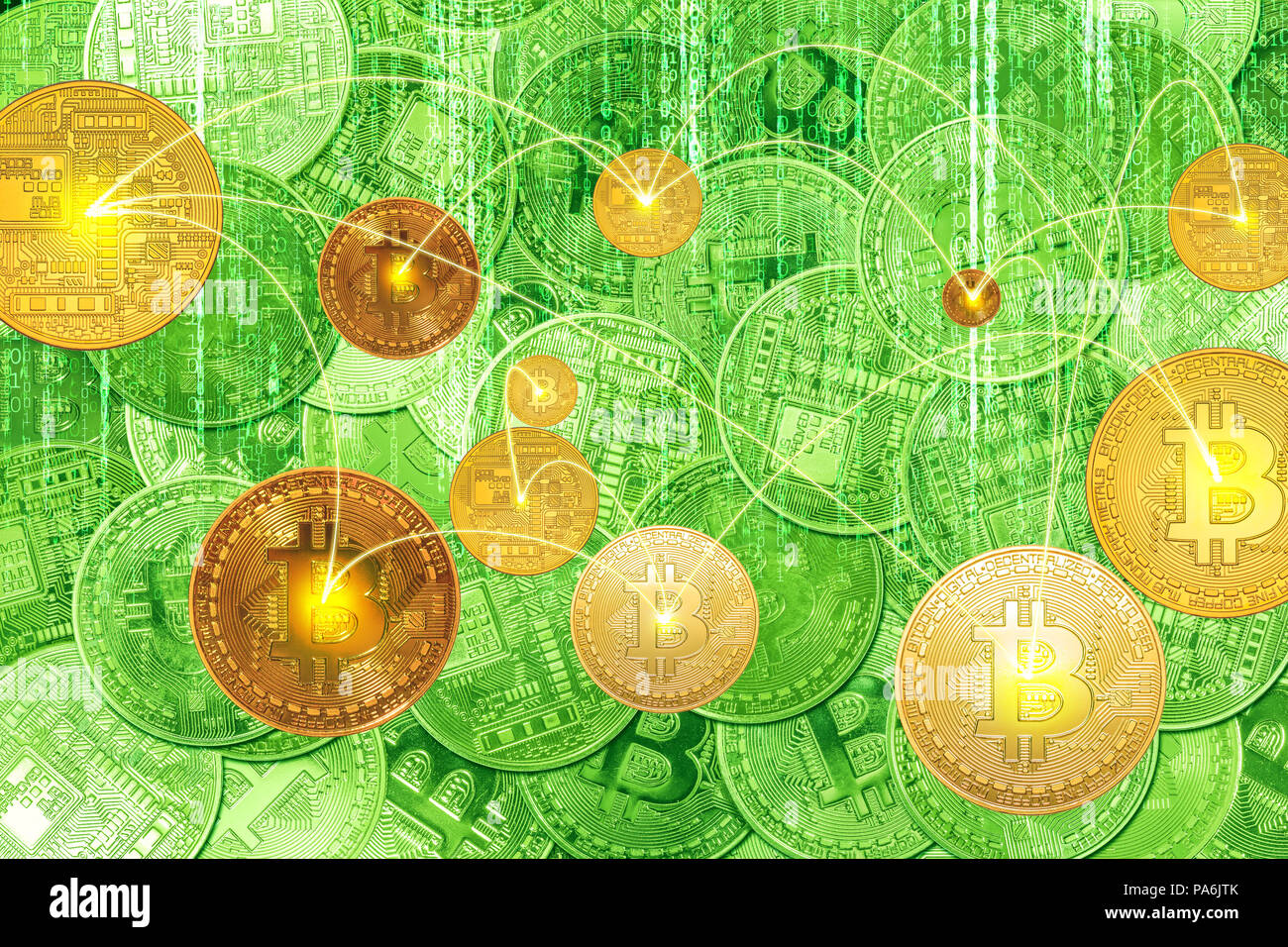 Digital connectivity between golden bitcoins and crypto-currency transactions. The financial matrix background for the new virtual money exchange. - Stock Image