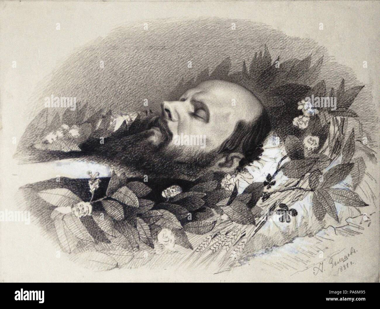 Fyodor Dostoyevsky on the deathbed. Museum: F. Dostoyevsky Memorial Museum, Moscow. - Stock Image