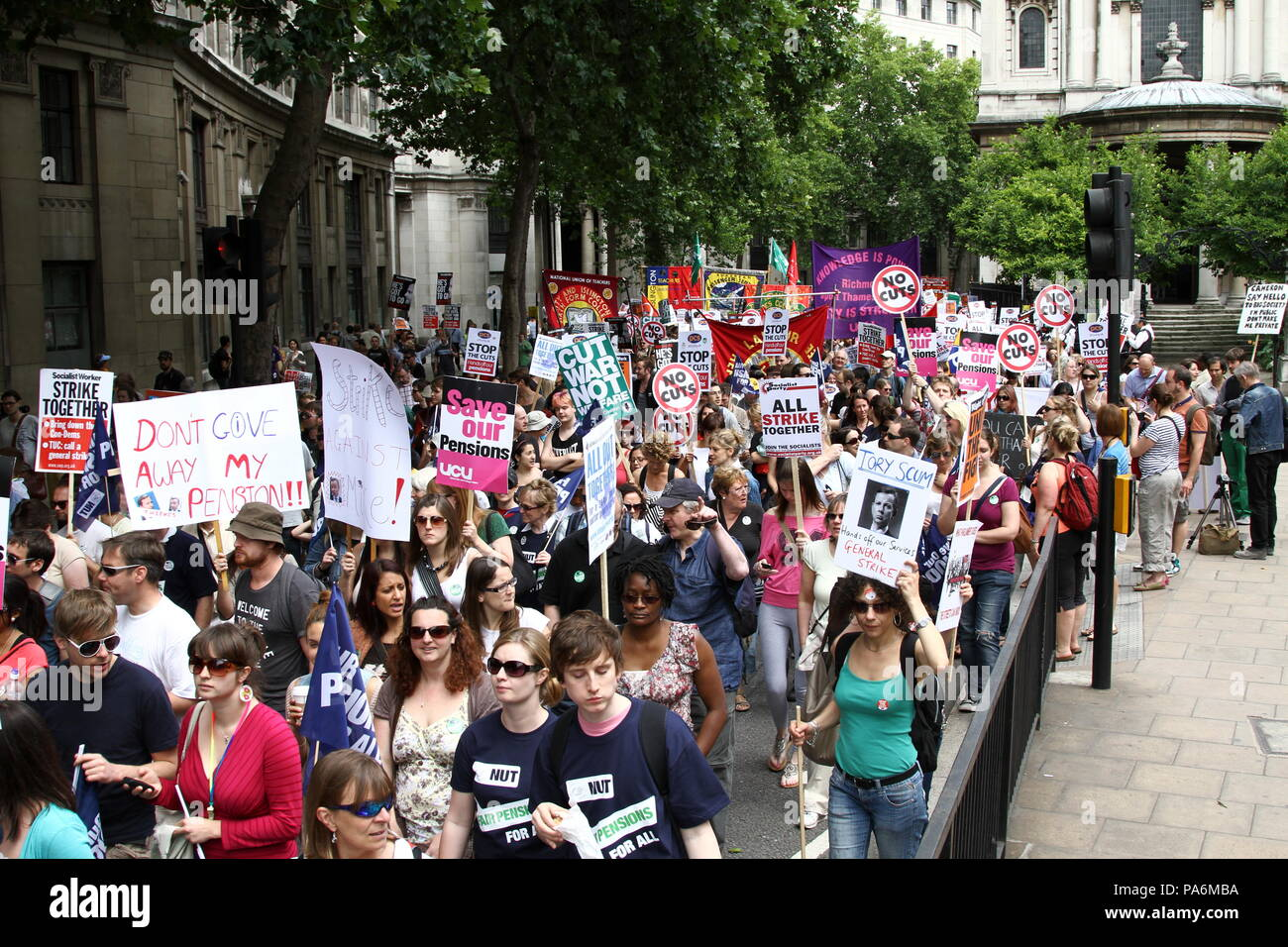 Public sector workers demonstration for protecting pensions, austerity, Public funding cuts, jobs, politics and trade unions. - Stock Image