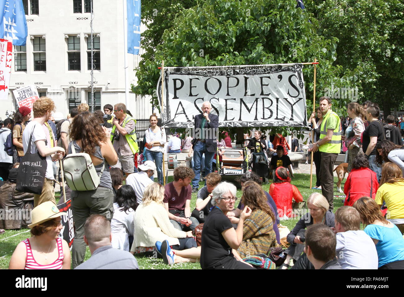 People's Assembly. The People's Assembly gather in the City of Westminster calling for the Democratization of the Economy. - Stock Image