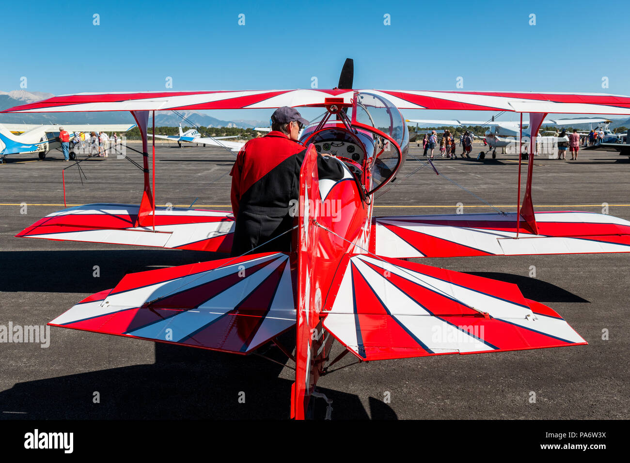 Pilot inspecting Pitts Special S2C biplane; Salida Fly-in & Air Show; Salida; Colorado; USA Stock Photo