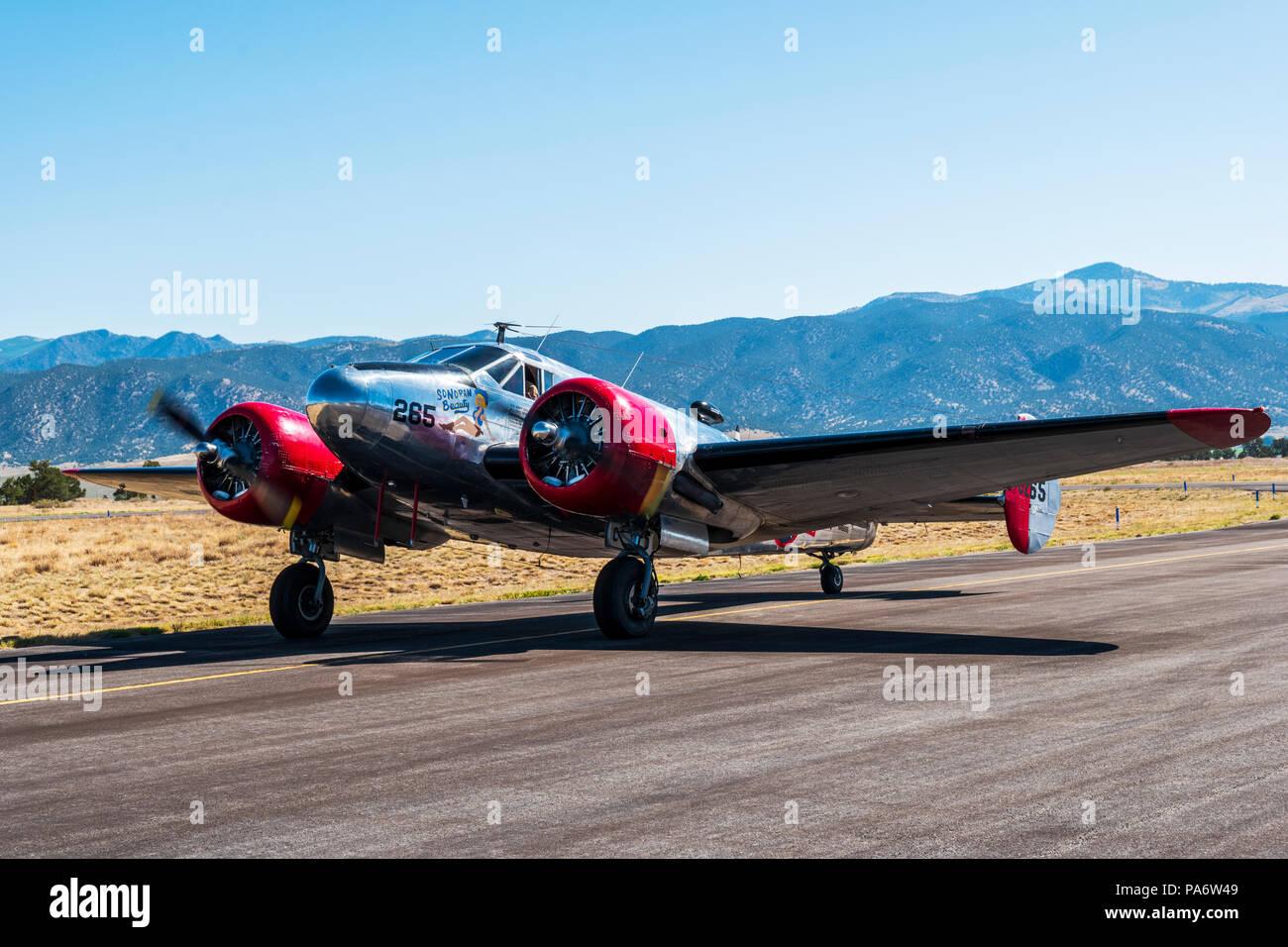 Beechcraft Model 18; Twin Beech; UC-45J Navigator; SNB-1 Kansan; US Navy; Salida Fly-in & Air Show; Salida; Colorado; USA - Stock Image