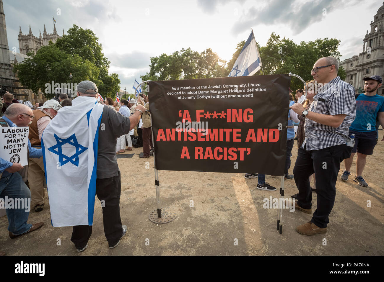 London, UK. 19th July 2018. Demonstration in Parliament Square against alleged issues of Labour party antisemitism by members of the Jewish community organised by the Campaign Against Antisemitism (CAA). Credit: Guy Corbishley/Alamy Live News - Stock Image