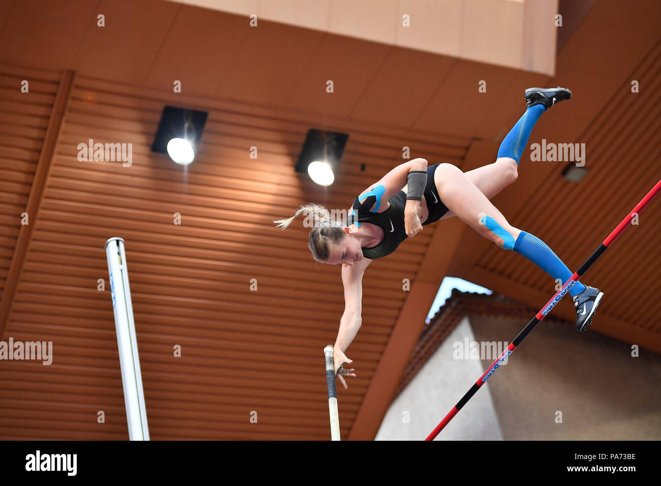 Fontvieille. 20th July, 2018. Anzhelika Sidorova competes during the women's pole vault match at the IAAF Diamond League athletics 'Herculis' meetings in Fontvieille, Monaco on July 20, 2018. Anzhelika Sidorova claimed the title with 4.85 metres. Credit: Chen Yichen/Xinhua/Alamy Live News - Stock Image