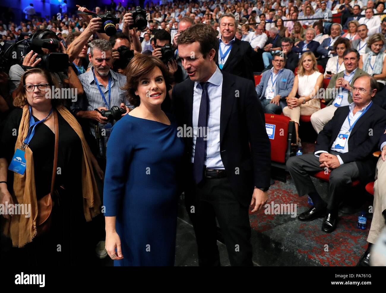 Madrid spain 21 july 2018 candidates to lead the spanish candidates to lead the spanish conservative peoples party pp pablo casado r and soraya saenz de santamaria l greet each other during the peoples m4hsunfo