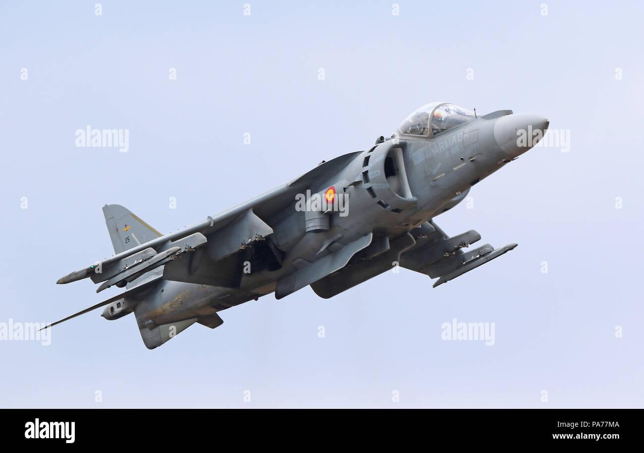 Spanish Navy McDonnell Douglas AV-8B Harrier, Farnborough International Airshow, Farnborough Airport, Hampshire, UK, 20 July 2018, Photo by Richard Goldschmidt Credit: Rich Gold/Alamy Live News Stock Photo