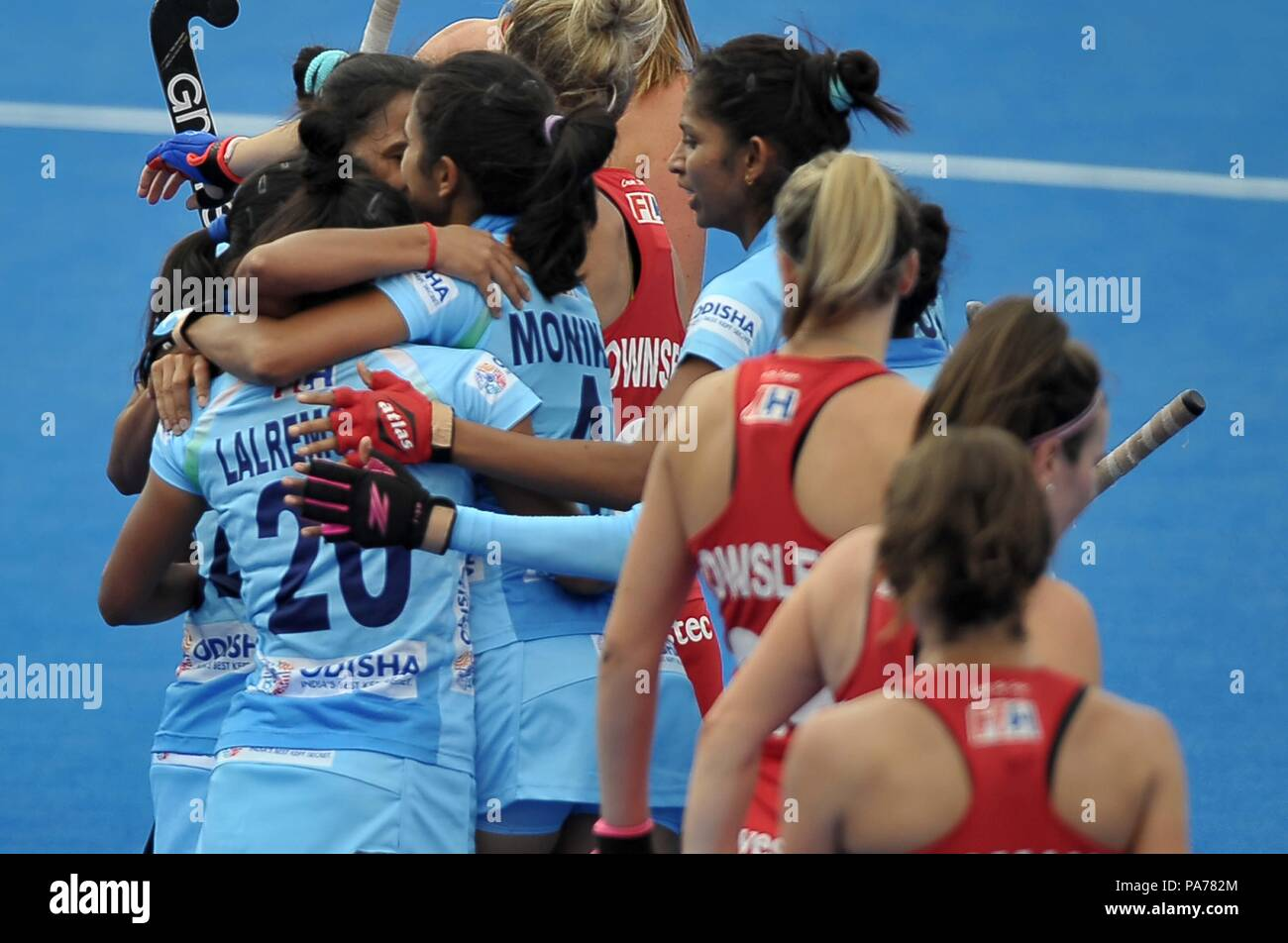 London, UK. 21st July 2018. The Indian players celebrate their first goal. England V India. Match 2. Pool B. Womens Hockey World Cup 2018. Lee Valley hockey centre. Queen Elizabeth Olympiv Park. Stratford. London. UK. 21/07/2018. Credit: Sport In Pictures/Alamy Live News - Stock Image