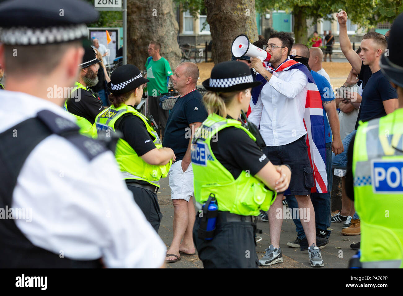 Cambridge, UK. 21st July 2018. 'Free Tommy Robinson' protest in support of former EDL leader Tommy Robinson and counter protest by Cambridge's 'Stand up to Racism' group near Mill Road and Parker's Piece. CamNews / Alamy Live News - Stock Image