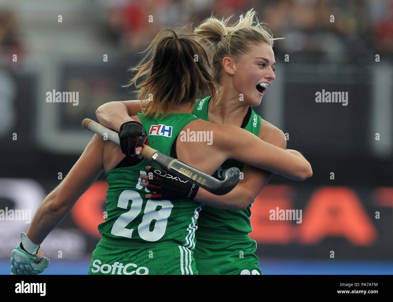 London, UK. 21st July 2018. Deirdre Duke (IRL, 28) celebrates scoring the first Irish goal with Chloe Watkins (IRL). USA V Ireland. Match 3. Pool B. Womens Hockey World Cup 2018. Lee Valley hockey centre. Queen Elizabeth Olympiv Park. Stratford. London. UK. 21/07/2018. Credit: Sport In Pictures/Alamy Live News Stock Photo