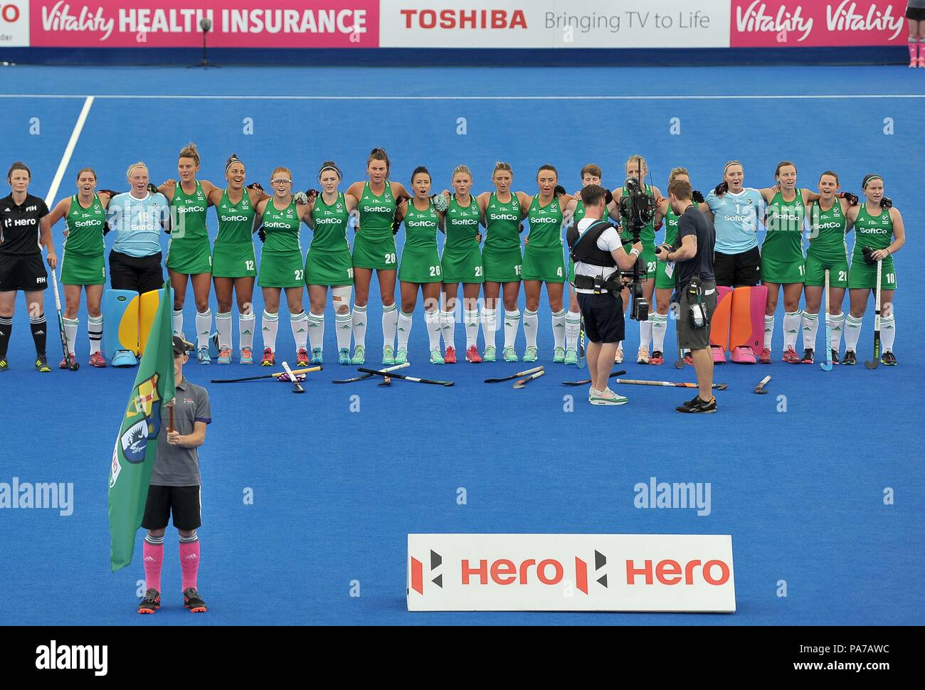 London, UK. 21st July 2018. The Irish team during the national anthem. USA V Ireland. Match 3. Pool B. Womens Hockey World Cup 2018. Lee Valley hockey centre. Queen Elizabeth Olympiv Park. Stratford. London. UK. 21/07/2018. Credit: Sport In Pictures/Alamy Live News - Stock Image