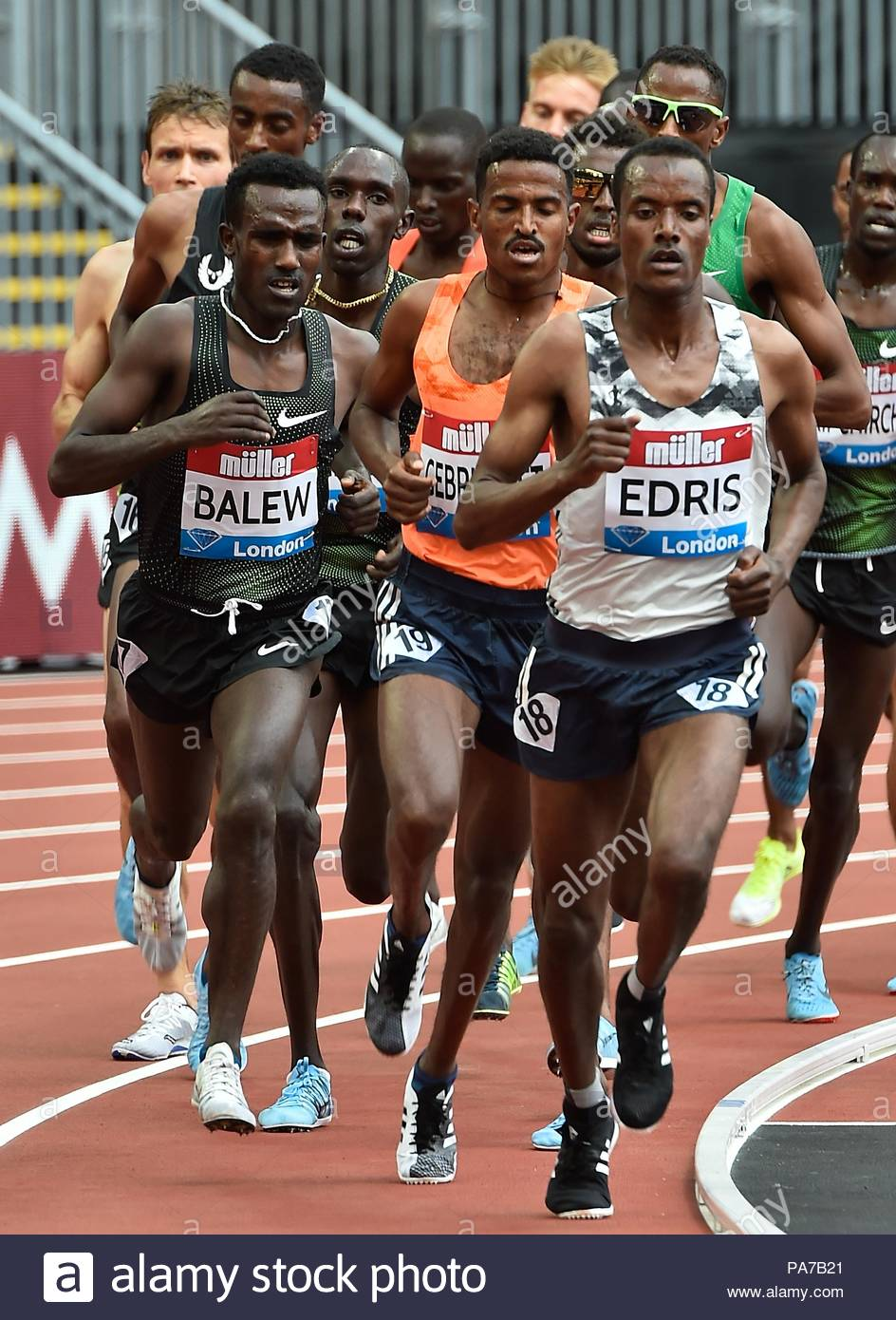 London, UK. 21st July 2018. 21.07.2018 IAAF Diamond League Muller Anniversary Games Queen Elizabeth Olympic Park London UK Mens 5000m lead by Muktar Edris ETH who went on to win the race. Credit: Leo Mason sports photos/Alamy Live News - Stock Image