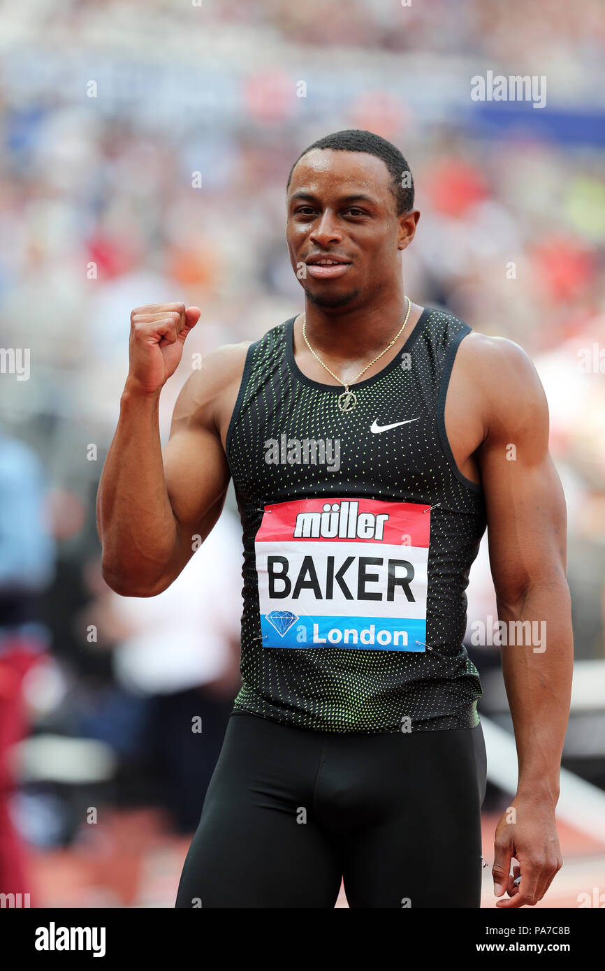 London, UK. 21st July 18. Ronnie BAKER (United States of America) celebrating victory in the Men's 100m Final at the 2018, IAAF Diamond League, Anniversary Games, Queen Elizabeth Olympic Park, Stratford, London, UK. Credit: Simon Balson/Alamy Live News - Stock Image