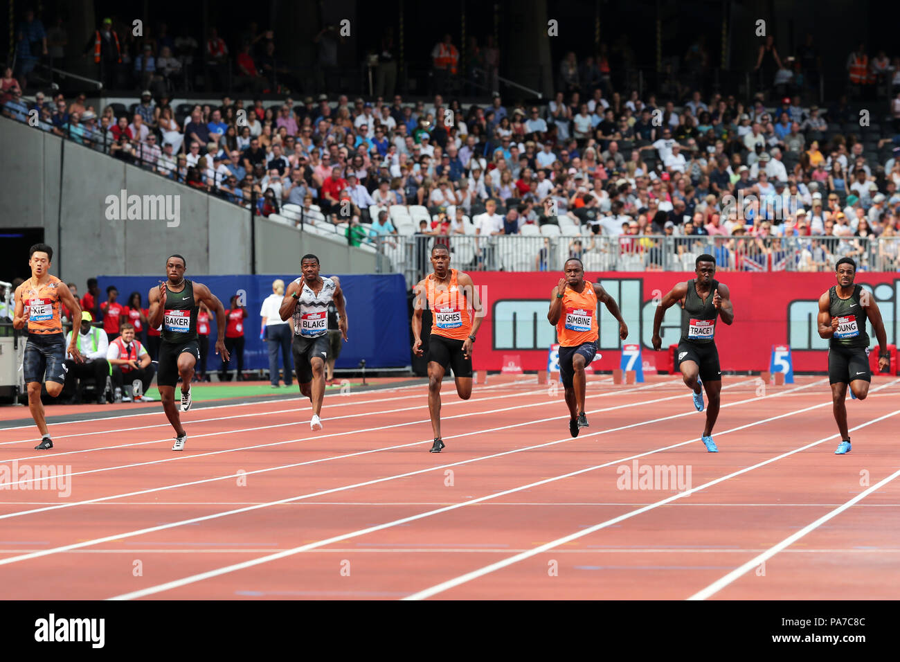 London, UK. 21st July 18. Isiah YOUNG (United States of America), Tyquendo TRACEY (Jamaica), Akani SIMBINE (South Africa), Zharnel HUGHES (Great Britain), Yohan BLAKE (Jamaica), Ronnie BAKER (United States of America), Zhenye XIE (China) competing in the Men's 100m Final at the 2018, IAAF Diamond League, Anniversary Games, Queen Elizabeth Olympic Park, Stratford, London, UK. Credit: Simon Balson/Alamy Live News - Stock Image