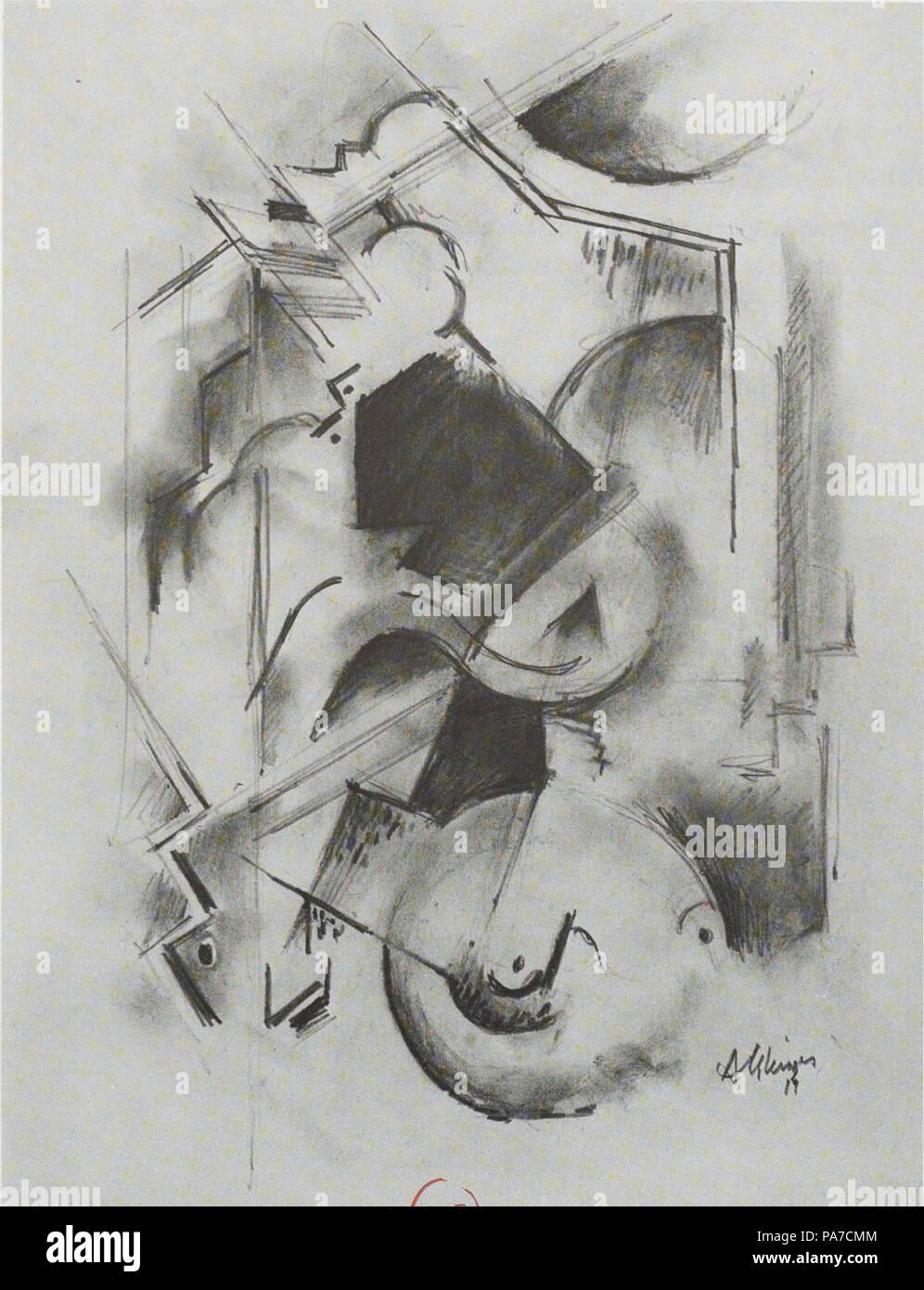 . English: Albert Gleizes, 1914-15, Portrait de Florent Schmitt (Le Pianiste), pastel, 36 x 27 cm (black and white photographic reproduction) . between 1914 and 1915 109 Albert Gleizes, 1914-15, Portrait de Florent Schmitt (Le Pianiste), pastel, 36 x 27 cm - Stock Image