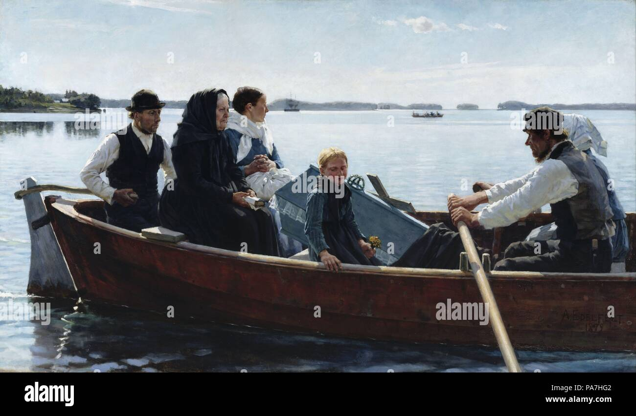 Conveying a Child's Coffin. Museum: Ateneum, Helsinki. Stock Photo