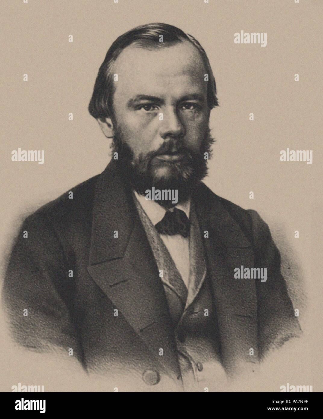 Portrait of the author Fyodor Mikhaylovich Dostoyevsky (1821-1881). Museum: State Museum of Literature, Omsk. - Stock Image