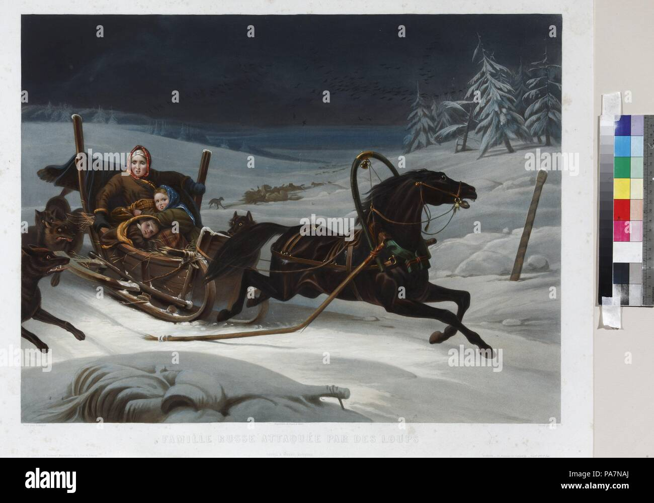 Sleigh of a Russian family pursued by wolves. Museum: State Open-air Museum Spasskoye-Lutovinovo. Stock Photo