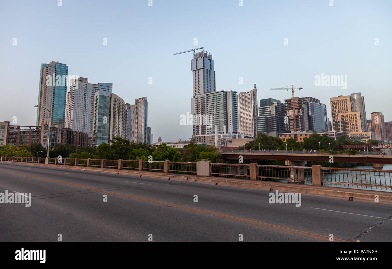 Downtown Austin From a River Bridge - Stock Image