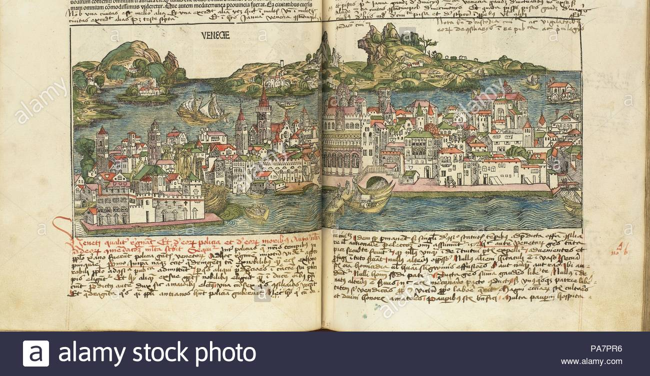 View of Venice. From: Liber chronicarum by Hartmann Schedel. Museum: Bayerische Staatsbibliothek, Munich. - Stock Image