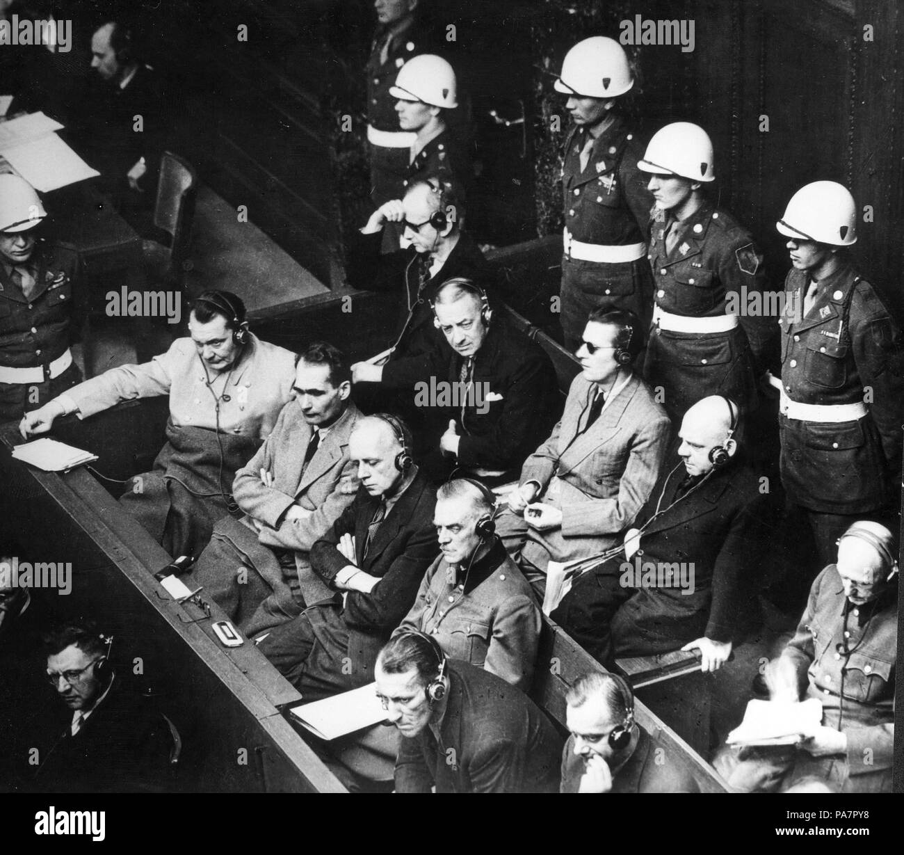 Defendants in the dock at the Nuremberg trials. Museum: State Central Military Museum, Moscow. Stock Photo