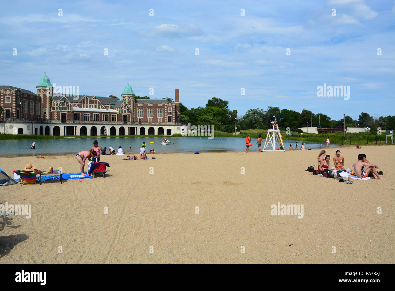 The inland lagoon beach and historic boathouse in Chicago's west side Humboldt Park neighborhood. - Stock Image