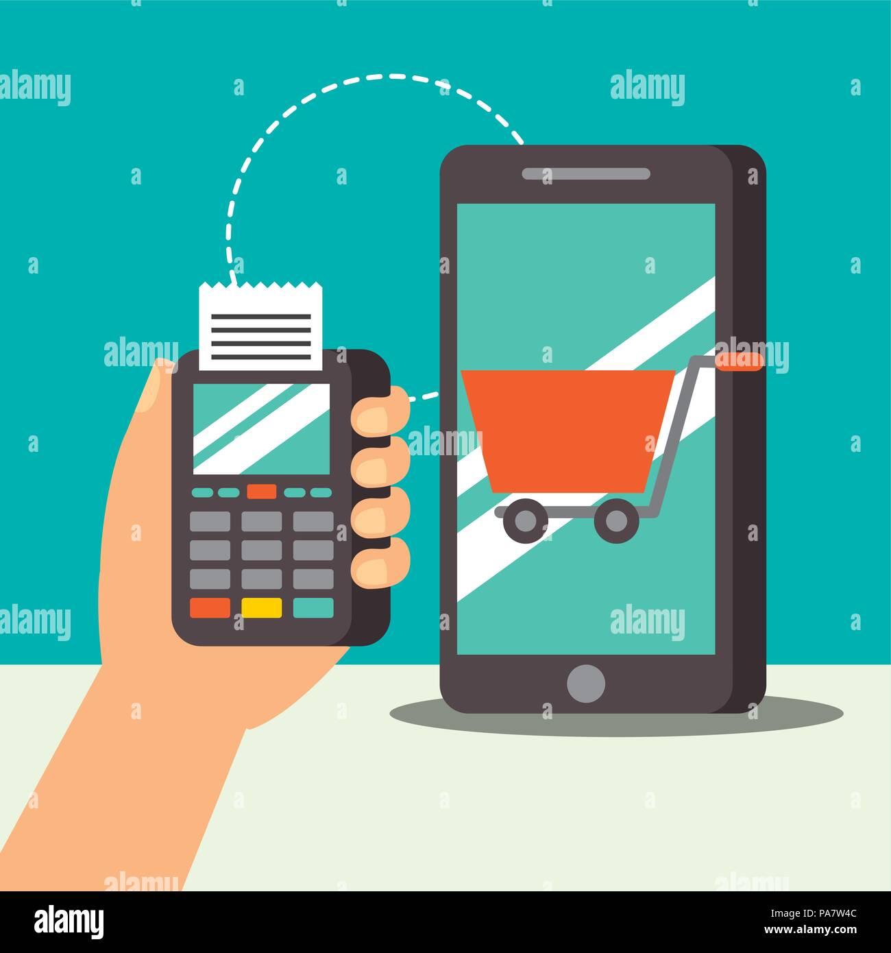 nfc payment technology dataphone smartphone shopping cart vector