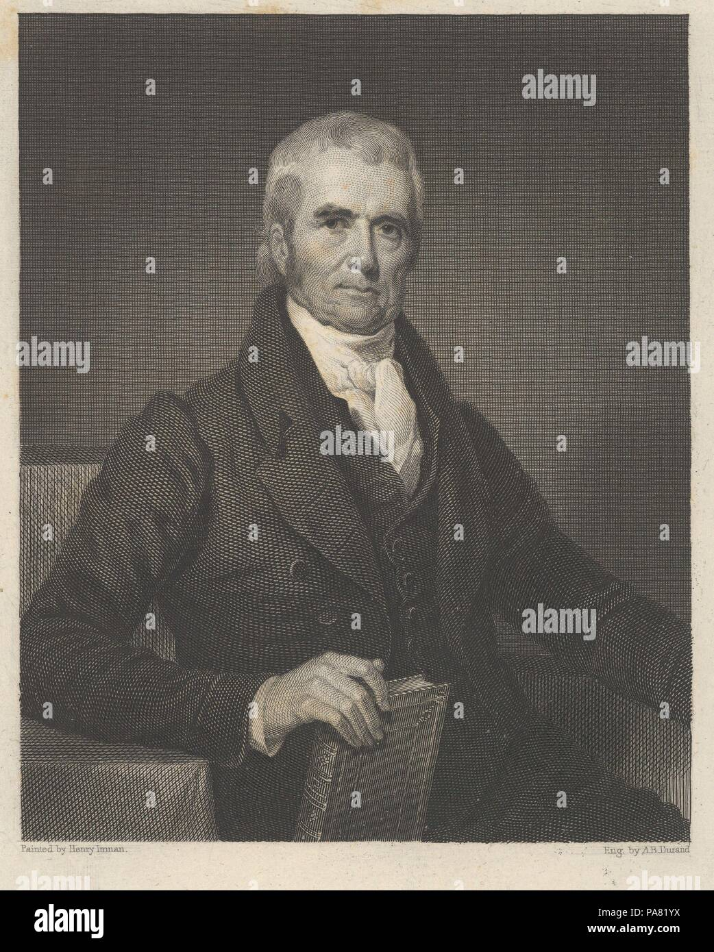 Chief Justice John Marshall. Artist: Asher Brown Durand (American, Jefferson, New Jersey 1796-1886 Maplewood, New Jersey); After Henry Inman (American, Utica, New York 1801-1846 New York). Dimensions: image: 4 5/8 x 3 3/4 in. (11.7 x 9.5 cm)  plate: 9 5/16 x 6 7/16 in. (23.6 x 16.3 cm). Sitter: John Marshall (American, 1755-1835). Date: 1833. Museum: Metropolitan Museum of Art, New York, USA. - Stock Image