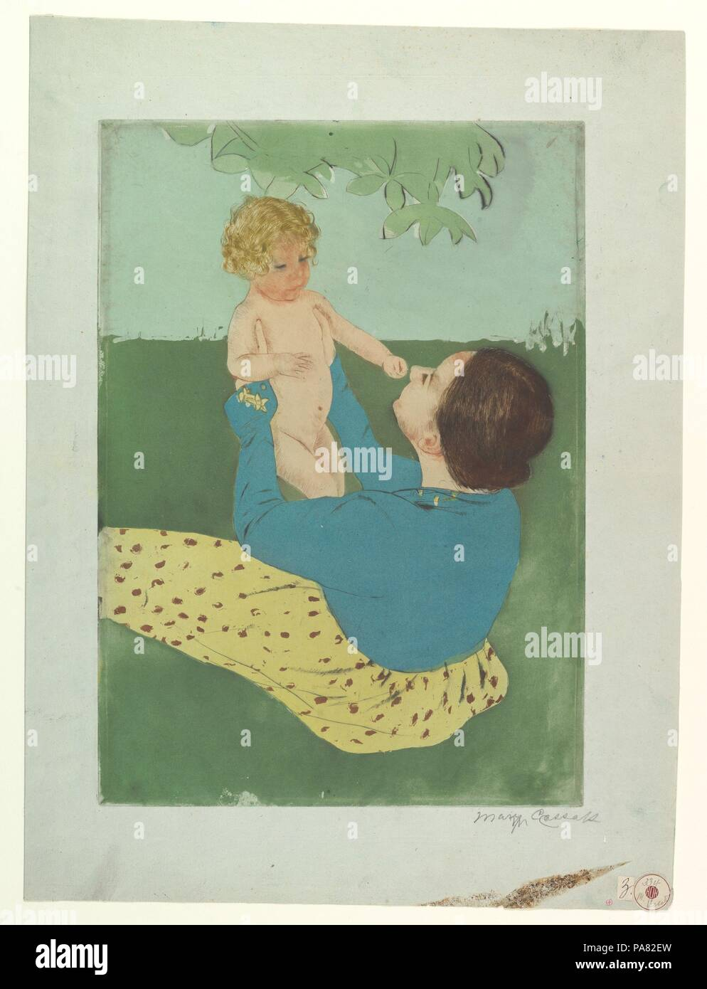 Under the Horse Chestnut Tree. Artist: Mary Cassatt (American, Pittsburgh, Pennsylvania 1844-1926 Le Mesnil-Théribus, Oise). Dimensions: plate: 15 15/16 x 11 3/16 in. (40.5 x 28.4 cm)  sheet: 20 1/2 x 15 3/16 in. (52.1 x 38.6 cm). Date: 1896-97. Museum: Metropolitan Museum of Art, New York, USA. Stock Photo