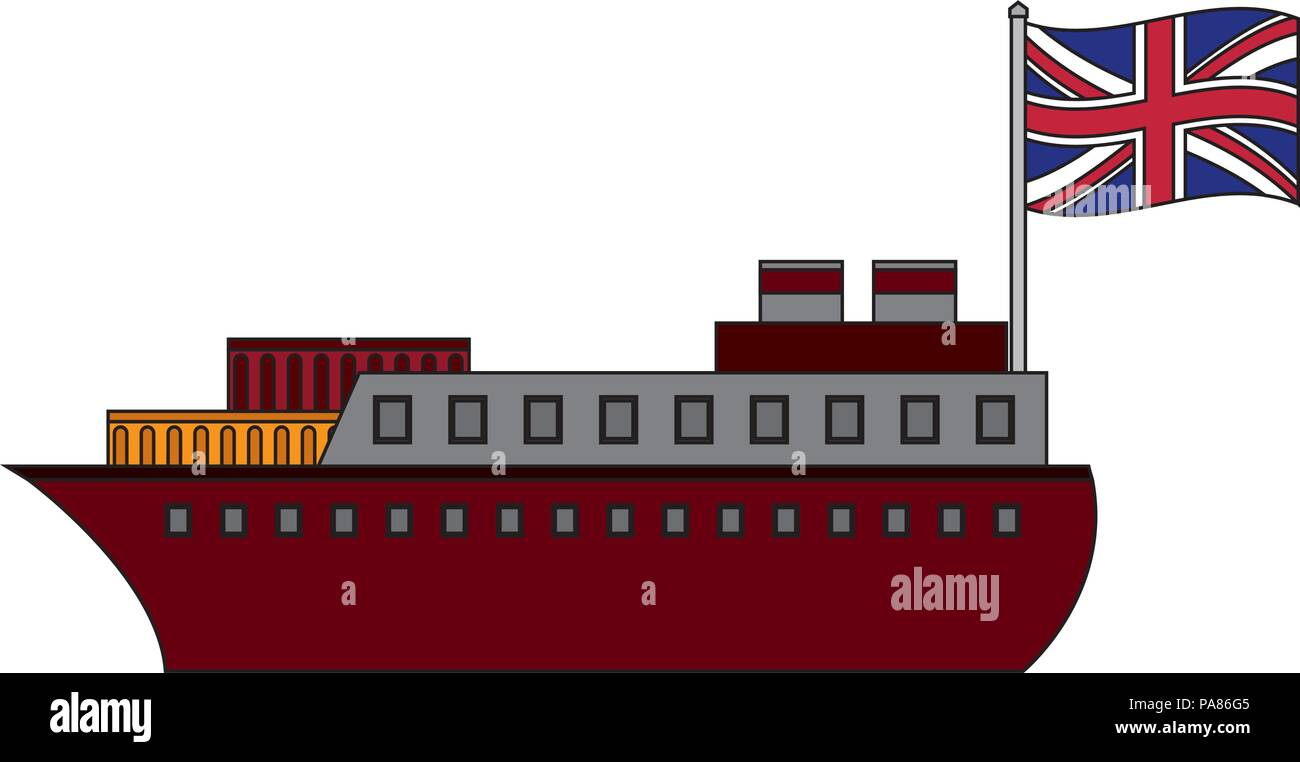 ship boat with flag of great britain vector illustration design - Stock Vector