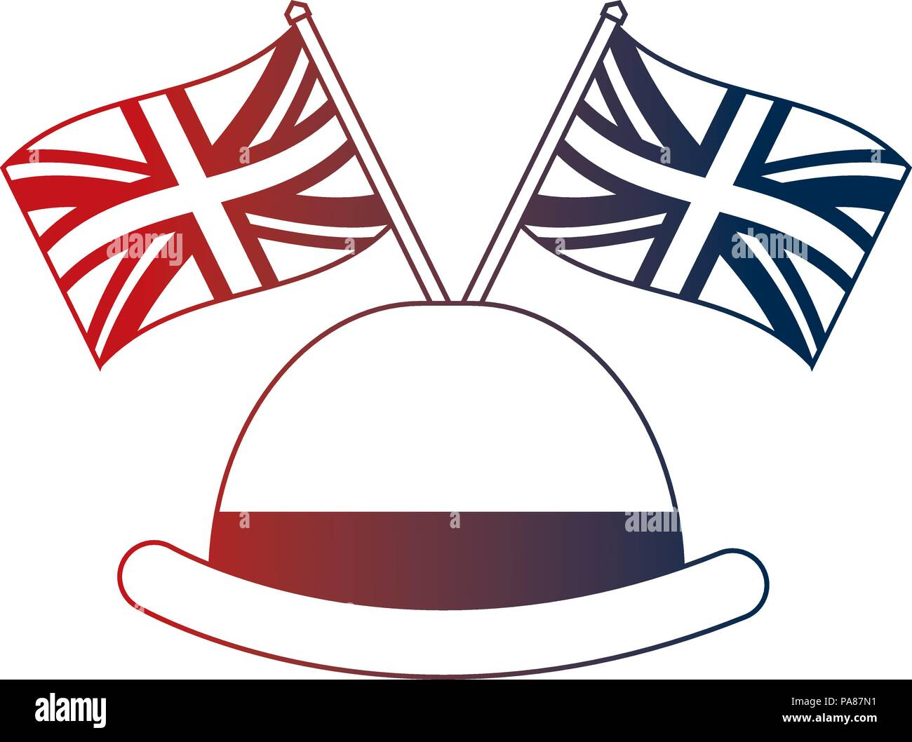 d3ac08a936f62 bowler hat elegance english flags vector illustration Stock Vector ...