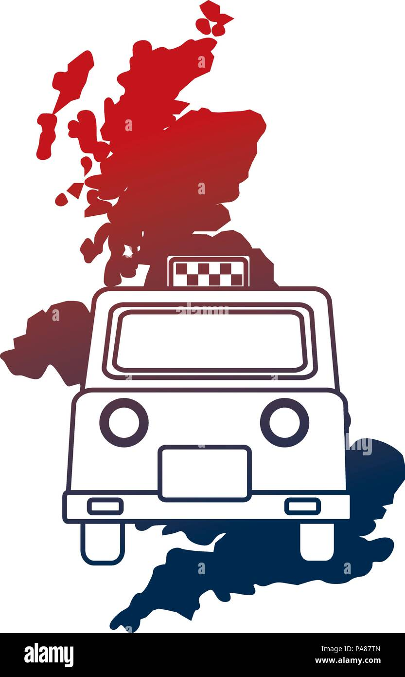 united kingdom map and taxi vehicle vector illustration - Stock Vector