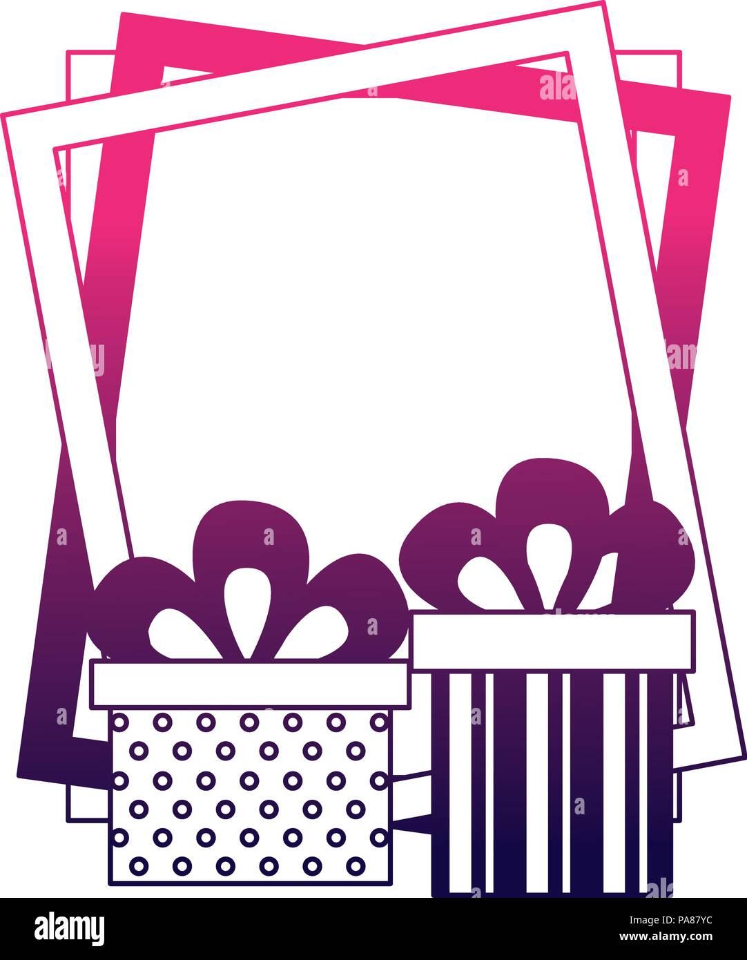 Birthday Gift Boxes And Frame Celebration Vector Illustration Stock
