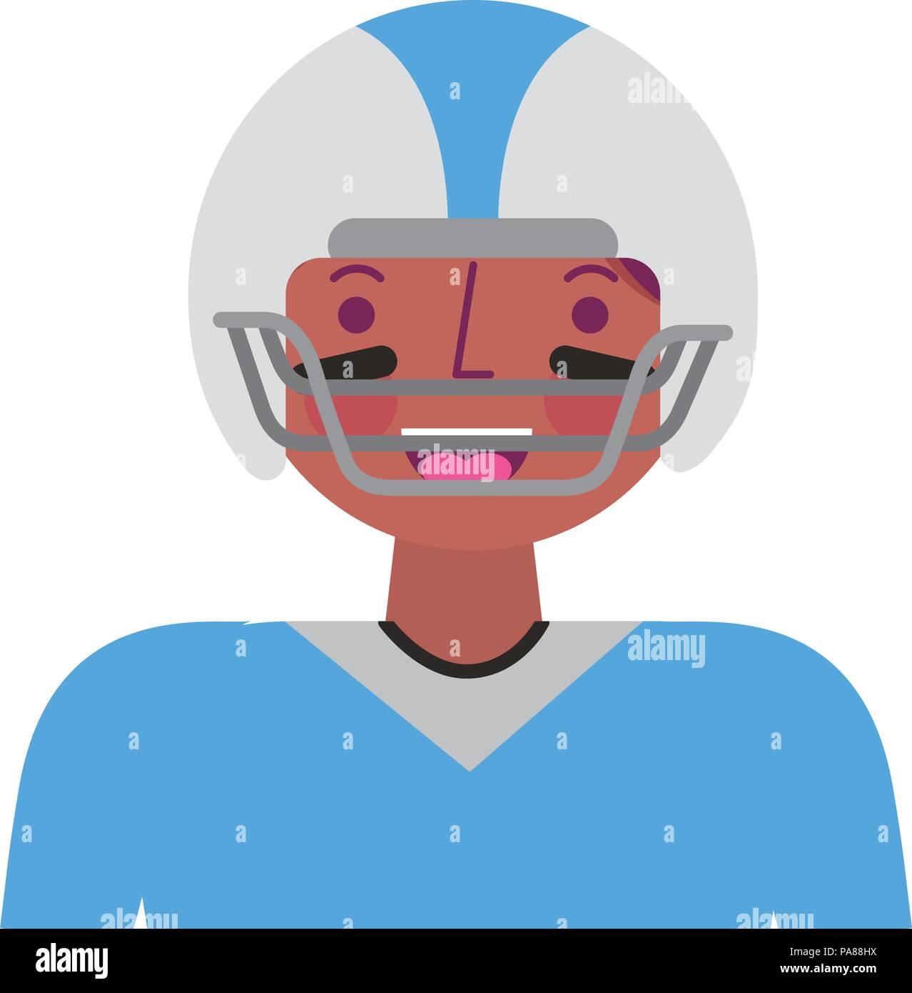 sport man player american football portrait vector illustration - Stock Vector