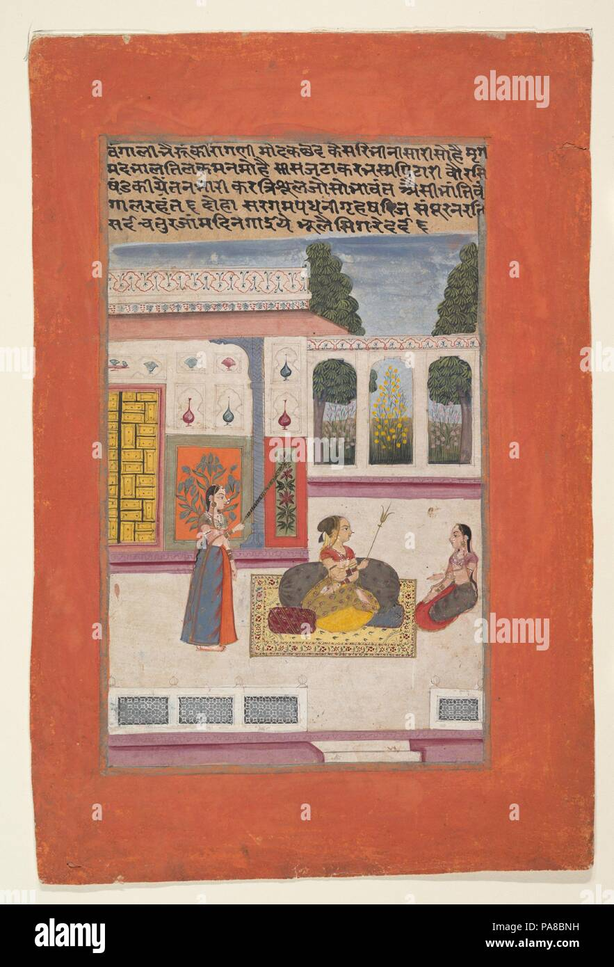 Bangali Ragini: Folio from a ragamala series (Garland of Musical Modes). Culture: India (Rajasthan, Amber). Dimensions: 13 3/4 x 9 1/8 in. (34.9 x 23.2 cm). Date: 1709.  The Amber ragamala text of which this work is a part offers the following description of this ragini: 'Her sari, soaked with kesara [saffron], is enchanting. [Her] musk caste mark at the forehead bewitches the mind. The lovable [woman has] matted locks and ash in her[?] palms. [She has] smeared srikhands [white sandalwood paste] all over her body. The trident in her arm is resplendent. Such is the beauty of Bangali.'. Museum:  - Stock Image